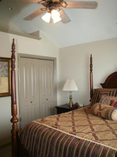 Second bedroom, vaulted with ceiling fan