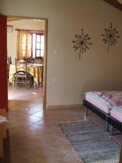 view from bedroom into livingroom/kitchen