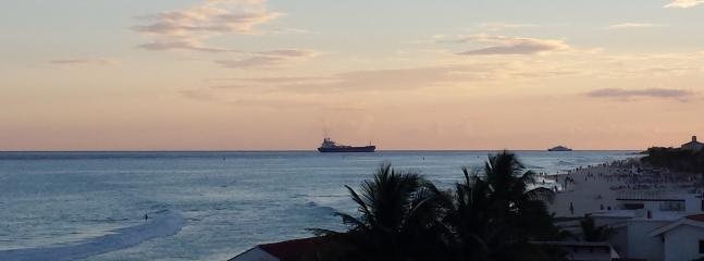 View of ships entering Port of Calico from window inside the suite
