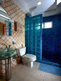 The tiled bathroom from the Guest Bedroom featuring large walk in shower