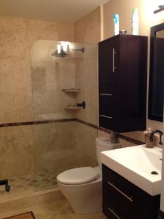 newly renovated guest bathroom with travertine tiled floor and shower