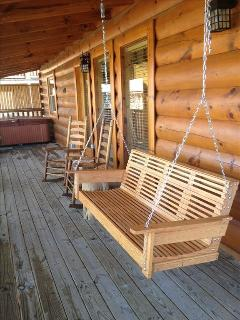 Back porch swing and rockers