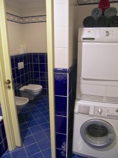 Separate toilette, bathroom with washing machine and separate dryer.
