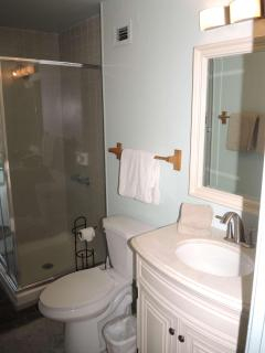 New vanities, mirrors, lights in upstairs bathroom