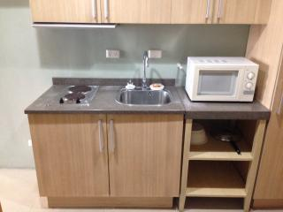 Electric Stove, Sink, Microwave and Utensils
