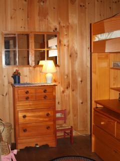 Lofted bunk with lots of storage space