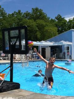 Water volleyball and basketball in pool = FUN