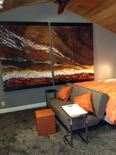 Dramatic unit with King size bed and sofa (that becomes a twin bed)