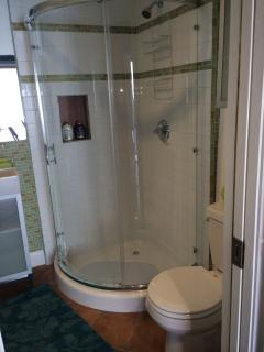 shower with white and glass tiles
