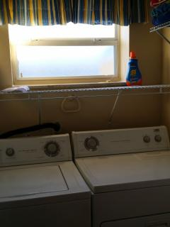 Extra Capacity Washer and Dryer makes laundry easy.