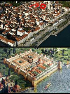 Diocletian's Palace today and in 3rd century, with apartment lokation marked