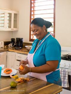 Miss Bev preparing amazing food