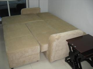 Living Area: Sofa bed converted to a king size bed; pillows, linens & blankets stored under the sofa