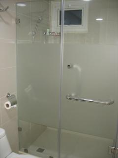 Bathroom: Glass enclosed shower area