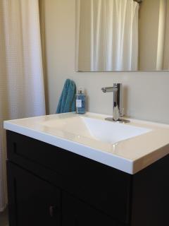 Bathroom with tall vanity