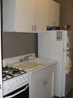 Sink, fridge, stove area