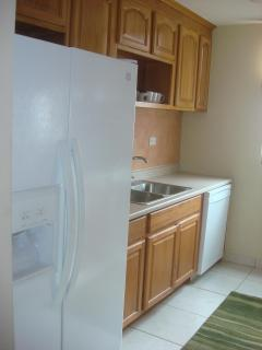 Fully Equipped Galley Kitchen with Dishwasher and Refrigerator w Icemaker