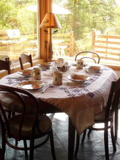 Dining room table with veiws of Lopez sound