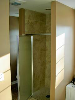 Walk-in shower with tile and glass door. Oil rubbed bronze fixtures.