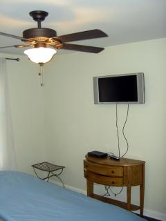 Master bedroom with flat screen tv and cable. Ceiling fan and king size bed.
