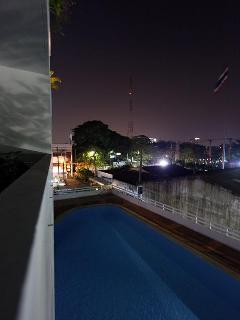 Outdoor swimming pool on the second floor at night