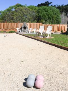 Bocce Ball Court and BBQ/Fire Pit on Slated Seating Area
