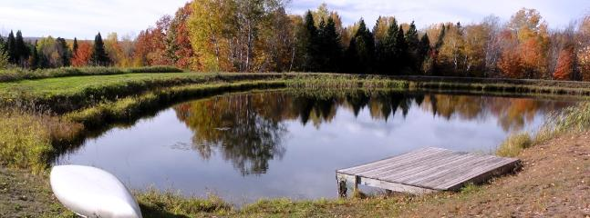 Canoe is provided at the pond.