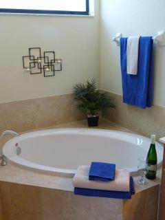 Master soaking tub - Relax with a glass of wine amidst bubbles and candles!