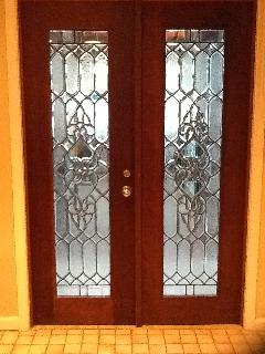 Entrance to Spa Wing from apartment kitchen through leaded glass double doors