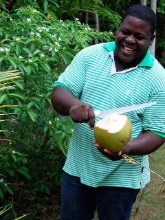 ... or gardener Rohan's pure, natural coconut water fresh from the tree.  It's healthy!