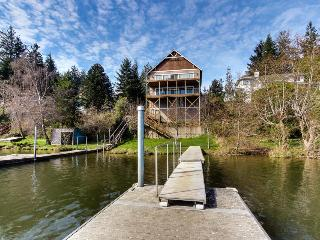Stunning, dog-friendly lakefront home w/ private beach & dock, kayak, & canoe!