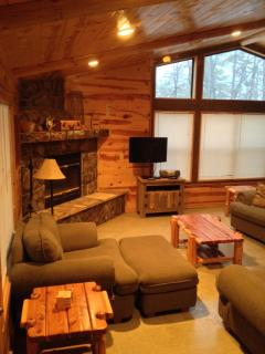 Living and wood burning fireplace, cozy