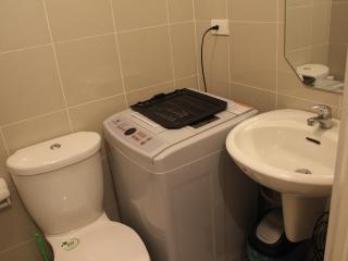 portable washing machine in 1  bathroom