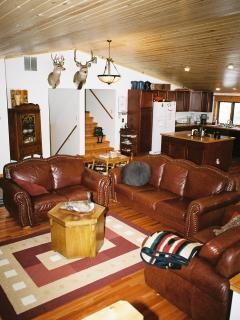 Living Room Area. A large laundry room is available for guests on the lower level