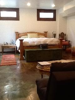 Lower level bedroom, 1 of 7 bedrooms, very private next to Irish Cedar Wood Sauna ,and full bathroom