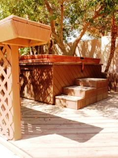 Hot tub area is shadded with a outdoor bar counter