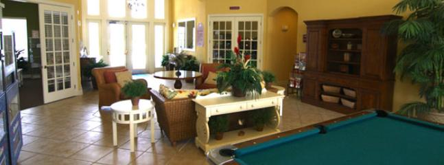 interior of club house.  Pool tables, Pin-Pong, and arcade games are available.