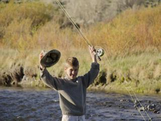 Fly fishing for Cutthroat on Big Diamond Ranch's private stretch of Wind River