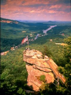 Go hiking on Chimney Rock only 3-1/2 miles from cabin. Photo courtesy of Chimney Rock State Park.