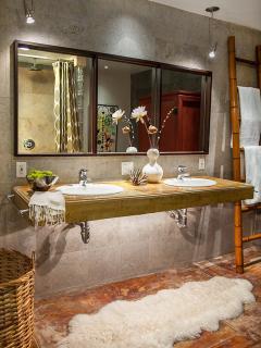 Master bathroom. Concrete double sink. Concrete radiant heat floors.