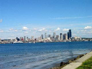 Alki Beach Modern Beach studio with 180 water view, free parking & wifi