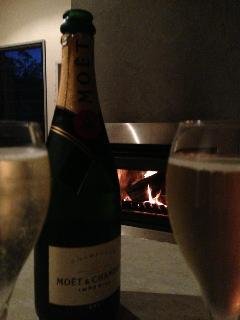 Champagne by the Wood Fire in Winter. We supply the fire wood
