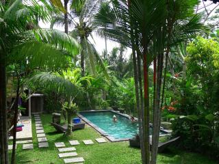 7 min to Ubud, Views! Lush garden w salt pool,A.C.