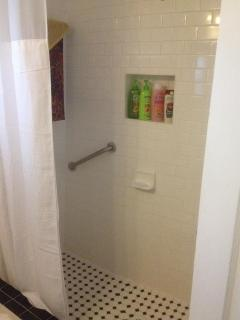 New Walk In Shower with Subway tile to the ceiling