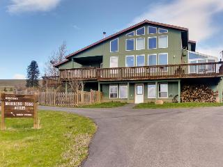 Dog-friendly home w/ fireplace, private hot tub, and mountain views!