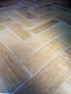 Custom Wood Look Herringbone Tiles