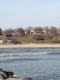 the view of the house from the pier. Lake Michigan is just feet away!