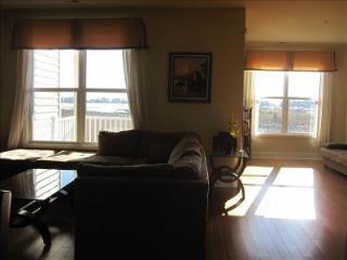 Living Room with Abundant Lighting and View of Bay