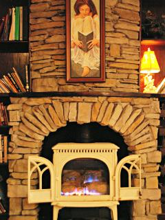 One of our 9 fireplaces. This is in the TV Room / Library