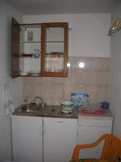Dish and kitchen with refrigerator with freeze,